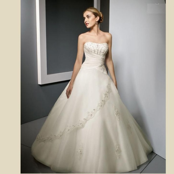 New Arrival A-Line Satin Floor-Length Bridal Wedding Dress,Wedding Gown